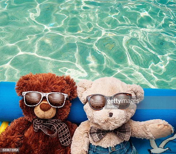 Mixed couple of Teddy Bears sunbathing on vacation