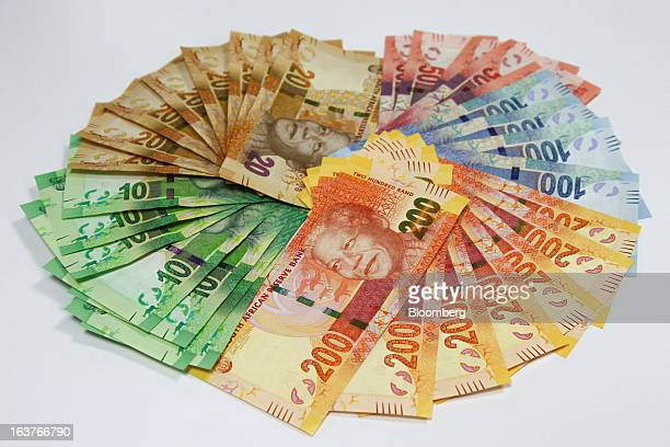 Mixed Denomination Rand Currency Banknotes Are Arranged For A Photograph At First National Bank Branch