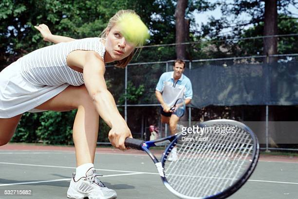 mixed doubles tennis match - doubles stock pictures, royalty-free photos & images