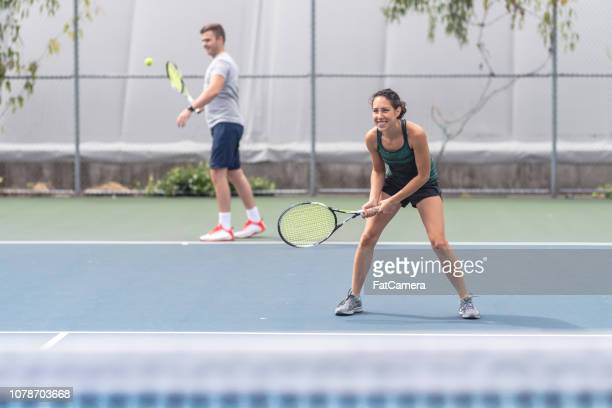 mixed doubles tennis - doubles sports competition format stock pictures, royalty-free photos & images