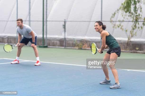 mixed doubles tennis - doubles stock pictures, royalty-free photos & images