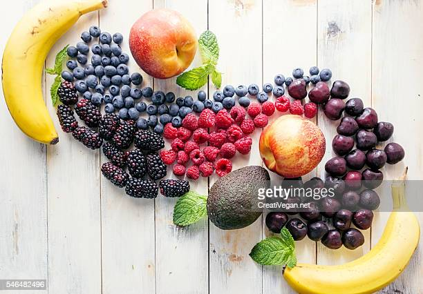 Mixed fruits forming swirls