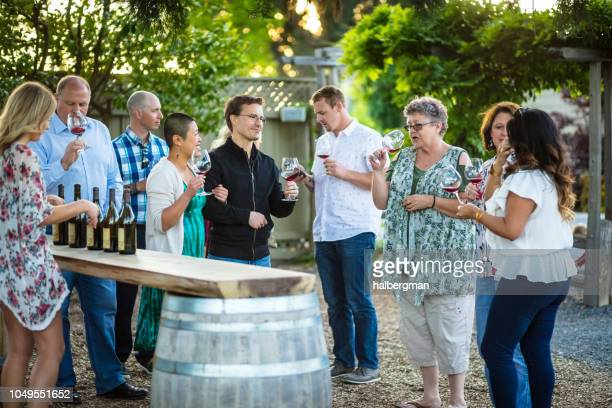 Mixed Group of Adults Enjoying a Wine Tasting Session