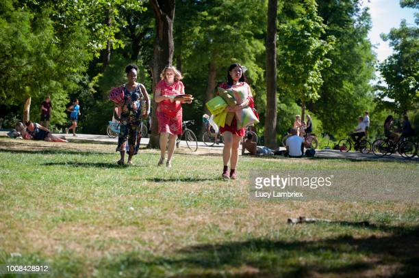 mixed group of women out on a picnic in the park - medium group of people stock pictures, royalty-free photos & images