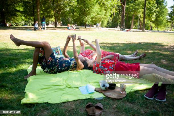 Mixed group of women out on a picnic, lying on their back