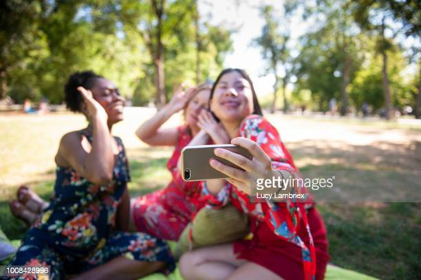 Mixed group of women taking a funny selfie
