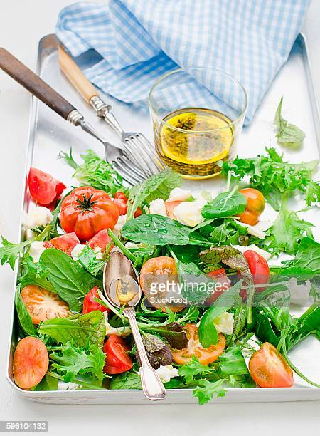 mixed leaf salad with tomatoes and mozzarella - leaf lettuce stock photos and pictures