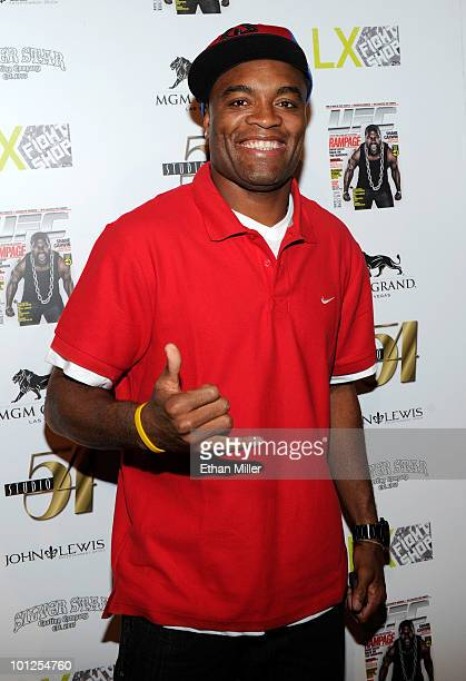 Mixed martial artist and UFC Middleweight Champion Anderson Silva arrives at the official Silver Star Casting Co and UFC magazine preparty for UFC...