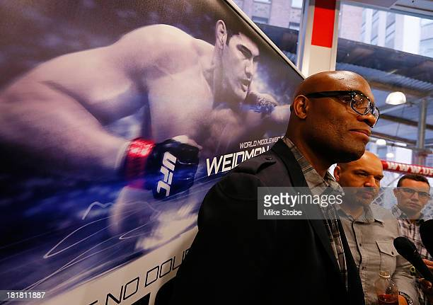 Mixed martial artist Anderson Silva of Brazil attends a news conference prior to a autograph signing at UFC Gym on September 25 2013 in New York City