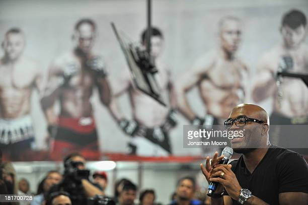 Mixed martial artist Anderson Silva of Brazil gestures during a QA session at UFC Gym on September 23 2013 in Torrance California