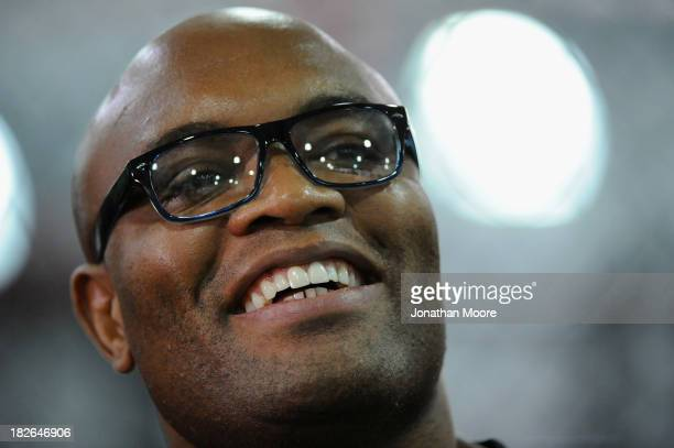 Mixed martial artist Anderson Silva of Brazil speaks during a QA session at UFC Gym on September 23 2013 in Torrance California
