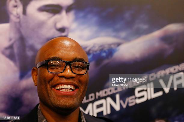 Mixed martial artist Anderson Silva of Brazil speaks to the media prior to a autograph signing at UFC Gym on September 25 2013 in New York City