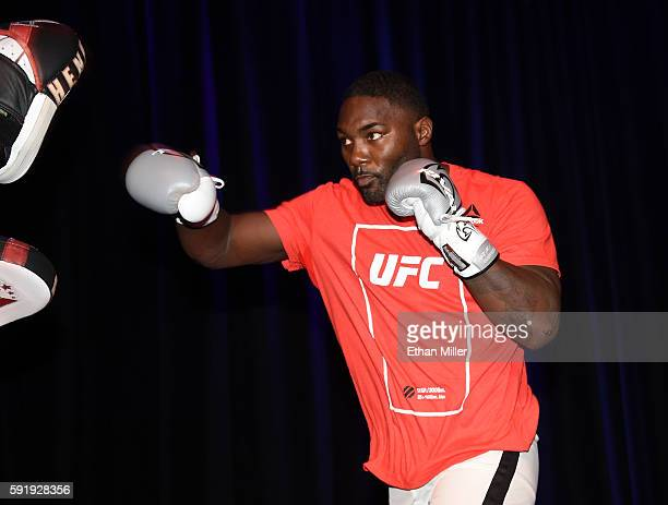 Mixed martial artist Anthony Johnson spars during an open workout for UFC 202 at Rocks Lounge at the Red Rock Casino on August 18 2016 in Las Vegas...