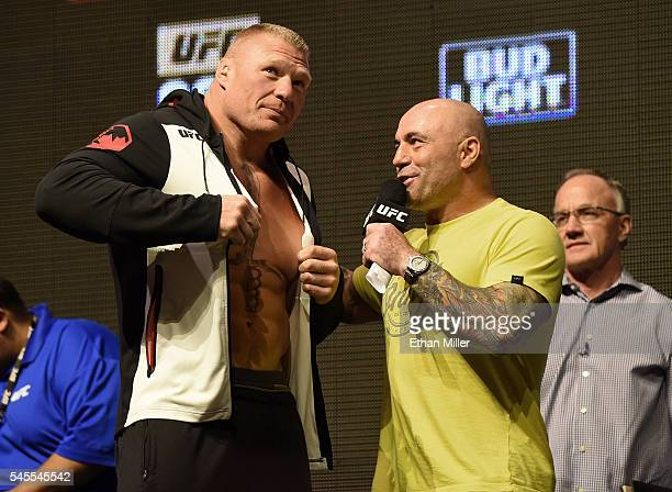 Mixed martial artist Brock Lesnar is interviewed by commentator Joe Rogan after Lesnar's weighin for UFC 200 at TMobile Arena on July 8 2016 in Las...
