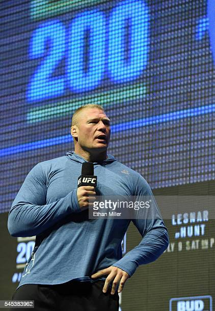Mixed martial artist Brock Lesnar takes questions from members of the media during an open workout for UFC 200 at TMobile Arena on July 7 2016 in Las...