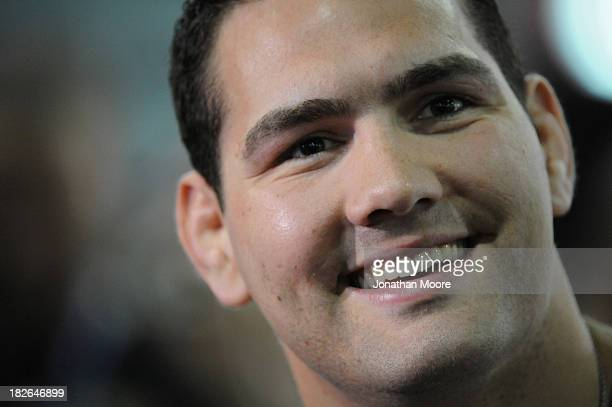 Mixed martial artist Chris Weidman of the United States speaks during a QA session at UFC Gym on September 23 2013 in Torrance California