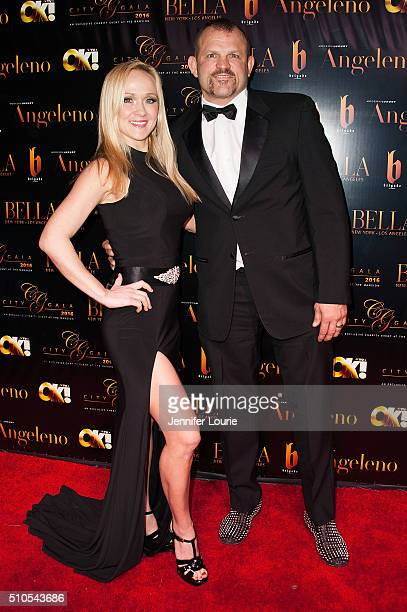 Mixed Martial Artist Chuck Liddell and Heidi Northcott arrive at the 2016 City Gala Fundraiser at The Playboy Mansion on February 15 2016 in Los...