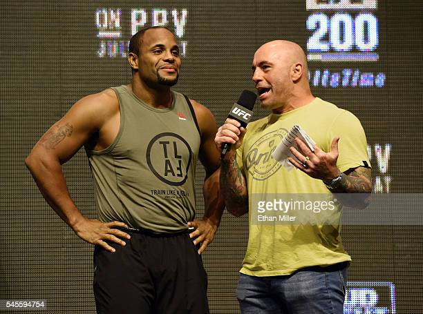 Mixed martial artist Daniel Cormier is interviewed by commentator Joe Rogan after Cormier's weighin for UFC 200 at TMobile Arena on July 8 2016 in...