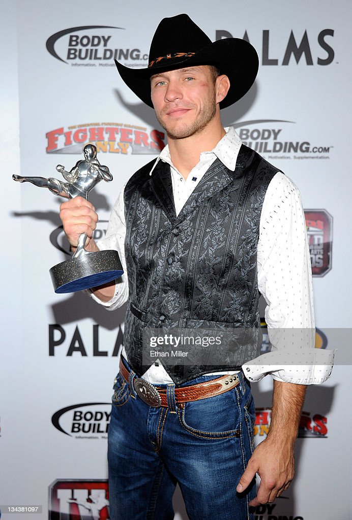 Mixed martial artist Donald Cerrone holds the Breakthrough Fighter of the Year award at the Fighters Only World Mixed Martial Arts Awards 2011 at The Pearl concert theater at the Palms Casino Resort November 30, 2011 in Las Vegas, Nevada.