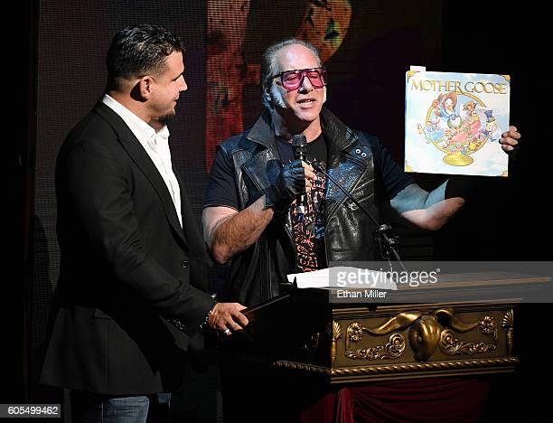 Mixed martial artist Frank Mir and comedian Andrew Dice Clay speak during Criss Angel's HELP charity event at the Luxor Hotel and Casino benefiting...