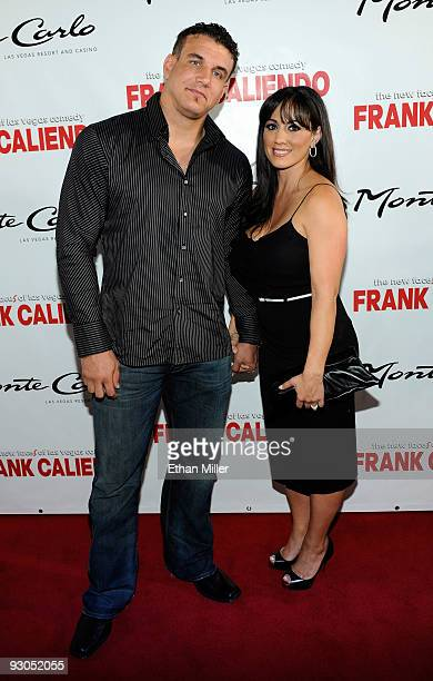 Mixed martial artist Frank Mir and his wife Jennifer Mir arrive at the grand opening of comedian/impressionist Frank Caliendo's show The New Faces of...