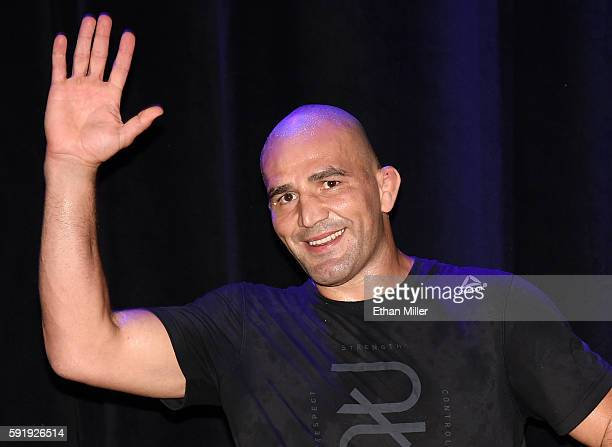 Mixed martial artist Glover Teixeira waves to the crowd during an open workout for UFC 202 at Rocks Lounge at the Red Rock Casino on August 18 2016...
