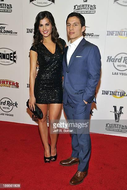 Mixed martial artist Joe Benavidez and TV host Megan Olivi arrive at the Fighters Only World Mixed Martial Arts Awards at the Hard Rock Hotel Casino...