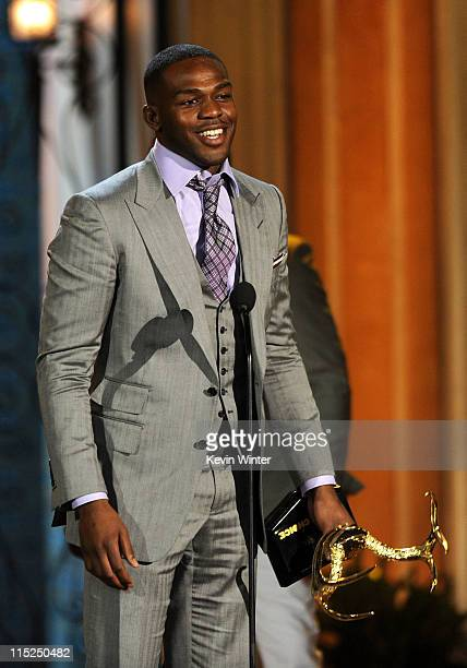 """Mixed martial artist Jon Jones accepts the Most Dangerous Man award onstage during Spike TV's 5th annual 2011 """"Guys Choice"""" Awards at Sony Pictures..."""