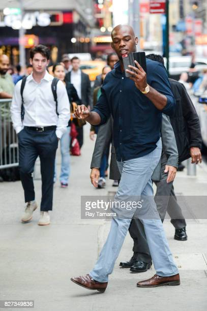 """Mixed martial artist Jon Jones enters the """"Good Morning America"""" taping at the ABC Times Square Studios on August 07, 2017 in New York City."""