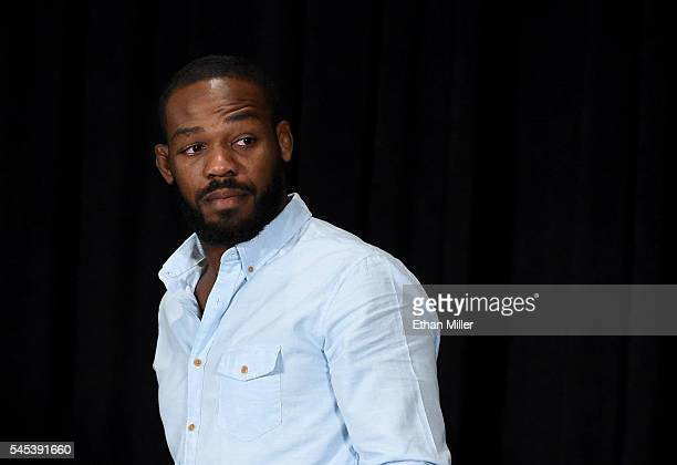 Mixed martial artist Jon Jones leaves a news conference at MGM Grand Hotel Casino held to address being pulled from his light heavyweight title fight...