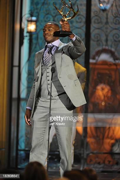 """Mixed martial artist Jon Jones onstage during Spike TV's 5th annual 2011 """"Guys Choice"""" Awards at Sony Pictures Studios on June 4, 2011 in Culver..."""
