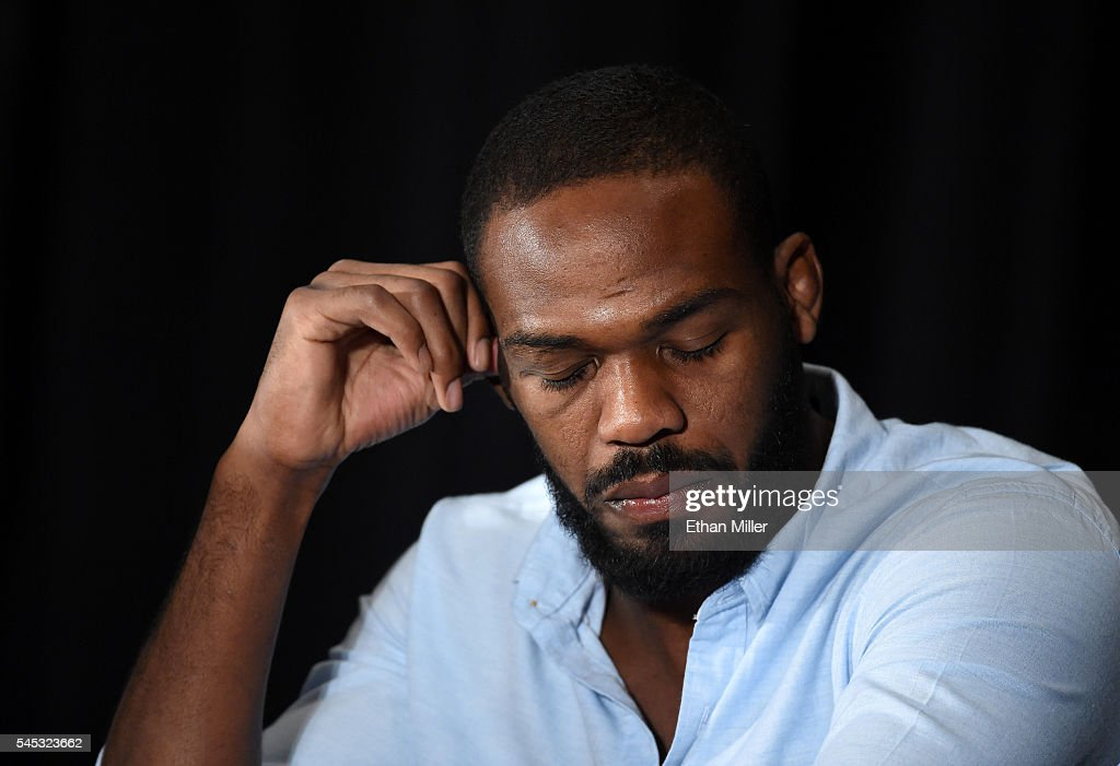 Mixed martial artist Jon Jones takes questions during a news conference at MGM Grand Hotel & Casino to address being pulled from his light heavyweight title fight at UFC 200 against Daniel Cormier due to a potential violation of the UFC's anti-doping policy on July 7, 2016 in Las Vegas, Nevada.