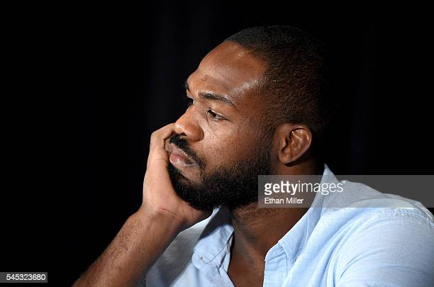 Mixed martial artist Jon Jones takes questions during a news conference at MGM Grand Hotel & Casino to address being pulled from his light...