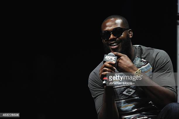 Mixed martial artist Jon Jones talks at LA Live during a UFC QA on August 5 2014 in Los Angeles California