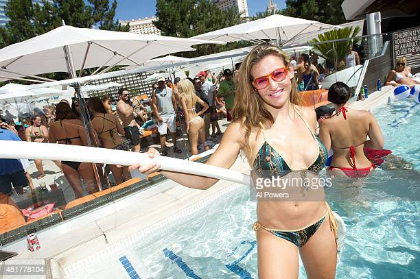 Mixed martial artist Miesha Tate poses at the UFC pool party during UFC International Fight Week at the Liquid Pool Lounge at the Aria Resort Casino...