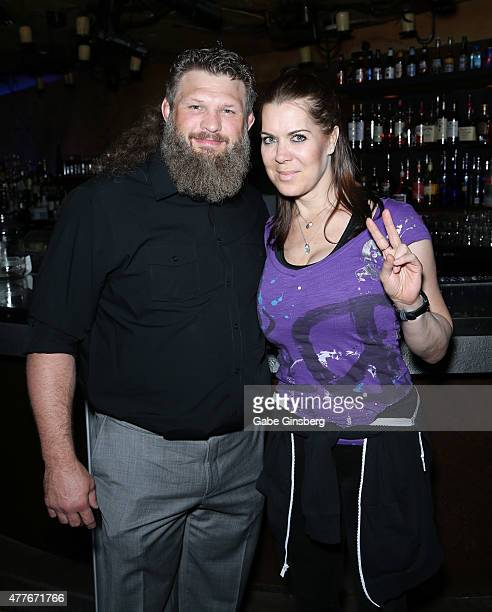 Mixed martial artist Roy Big Country Nelson and professional former wrestler Joanie Chyna Laurer attend One Step Closer Foundation's event at the...