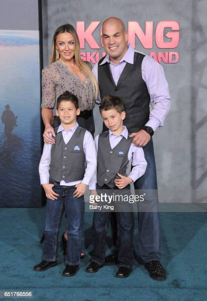 Mixed martial artist Tito Ortiz Amber Nichole Miller and sons Journey Jette Ortiz and Jesse Jameson Ortiz arrive for the Premiere of Warner Bros...