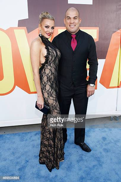 Mixed martial artist Tito Ortiz and model Amber Nichole attend The 2015 MTV Movie Awards at Nokia Theatre LA Live on April 12 2015 in Los Angeles...