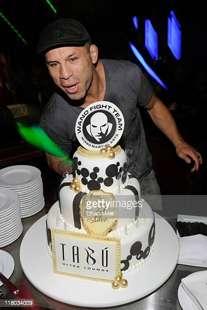 Mixed Martial Artist Wanderlei Silva Blows Candles Out On His Birthday Cake At 35th