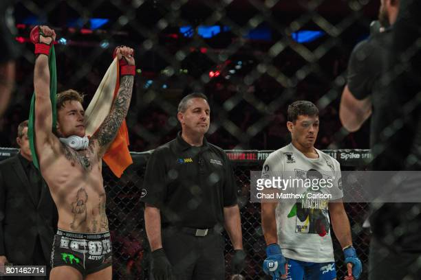 Bellator NYC James Gallagher victorious during featherweight bout vs Chinzo Machida at Madison Square Garden New York NY CREDIT Chad Matthew Carlson