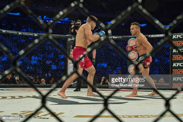 Bellator NYC Micheal Chandler in action vs Brent Primus during Lightweight World Title bout at Madison Square Garden New York NY CREDIT Chad Matthew...
