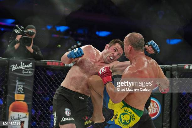 Bellator NYC Wanderlei Silva in action vs Chael Sonnen during Light Heavyweight bout at Madison Square Garden New York NY CREDIT Chad Matthew Carlson