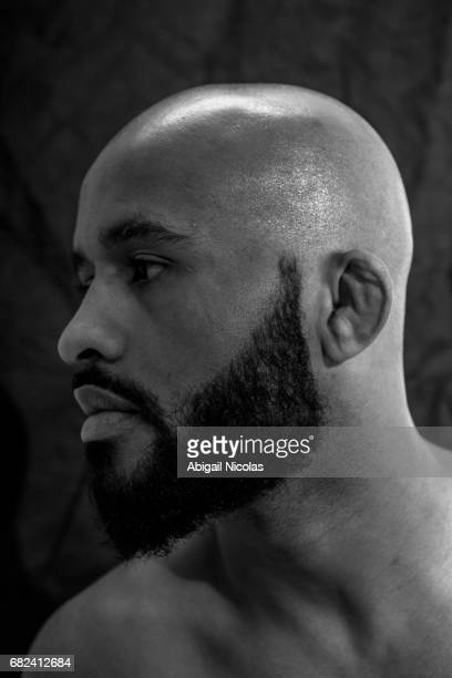 Closeup portrait of UFC Flyweight champion Demetrious Johnson posing during photo shoot at Time Inc Studios Johnson has succesfully defended his...