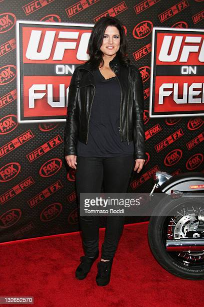 Mixed martial arts fighter Gina Carano attends the UFC On FOX: Live Heavyweight Championship held at the Honda Center on November 12, 2011 in...