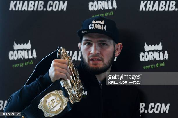Mixed martial arts fighter Khabib Nurmagomedov gives a press conference in Moscow on November 26 2018