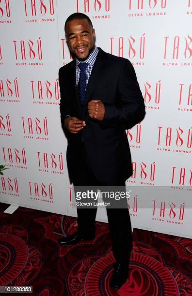 Mixed Martial Arts fighter Rashad Sugar Evans arrives for postfight party at Tabu inside MGM Grand on May 29 2010 in Las Vegas Nevada