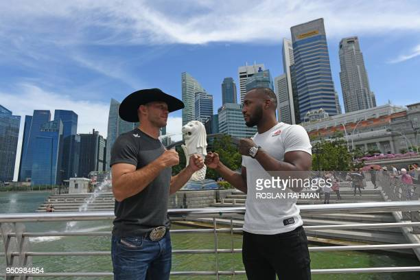 UFC mixed martial arts fighters Donald 'Cowboy' Cerrone of the US and Leon 'Rocky' Edwards of Britain pose for photos against the skyline at the...