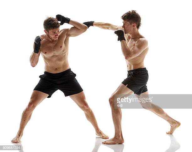 Mixed martial arts fighters in action