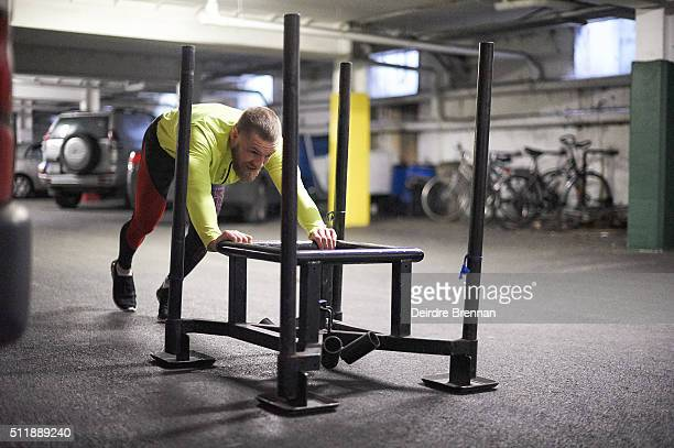 Portrait of UFC Featherweight champion Conor McGregor pushing sled during workout session at ISI Personal Training Centre Dublin Ireland 2/13/2016...