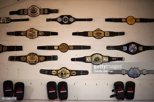 Portrait of various belts on wall belonging to UFC Featherweight champion Conor McGregor during photo shoot at Straight Blast Gym Dublin Ireland...